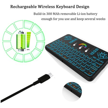 Ilebygo Backlight Mini Wireless Keyboard Q9,Android TV Remote,Rechargeable Mouse with Touchpad Combo. Fly Air Remote - image 5 of 5