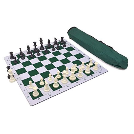 Wholesale Chess Triple Weighted Pieces and Mousepad Board Chess Set (Green) - image 1 of 2
