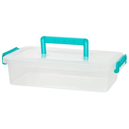 Sos Medium Storage Box - IRIS Medium Modular Latching Box with Blue Handle, Clear