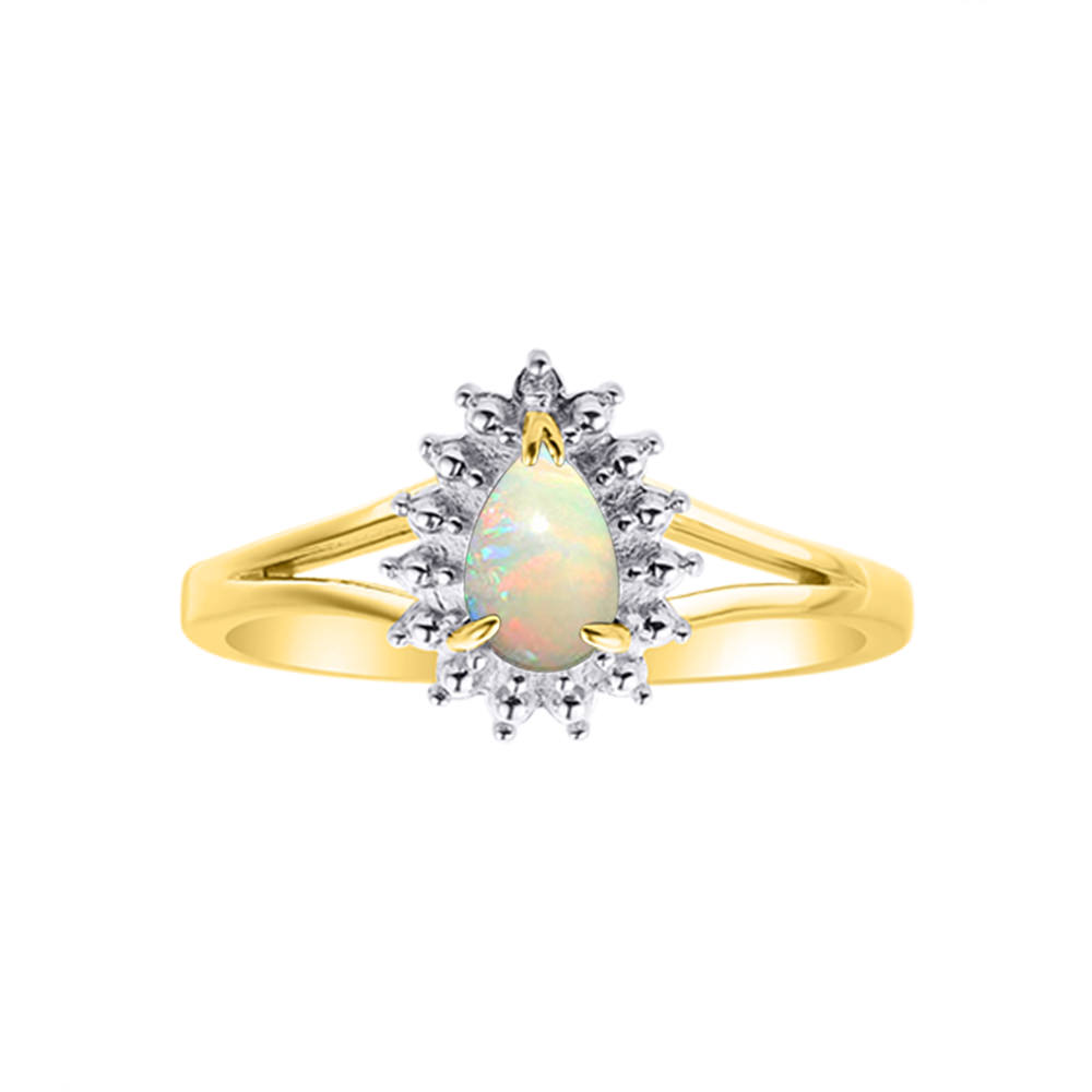 Diamond & Opal Matching Ring Set In 14K Yellow Gold by