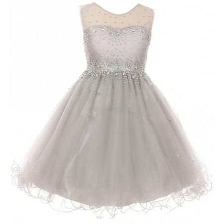 Little Girls Sparkling Rhinestone Illusion Tulle Junior Bridesmaid Pageant Flower Girl Dress Silver 4 (C50C29C)