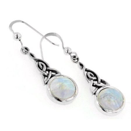 - Sterling Silver Rainbow Moonstone Celtic Knot Earrings
