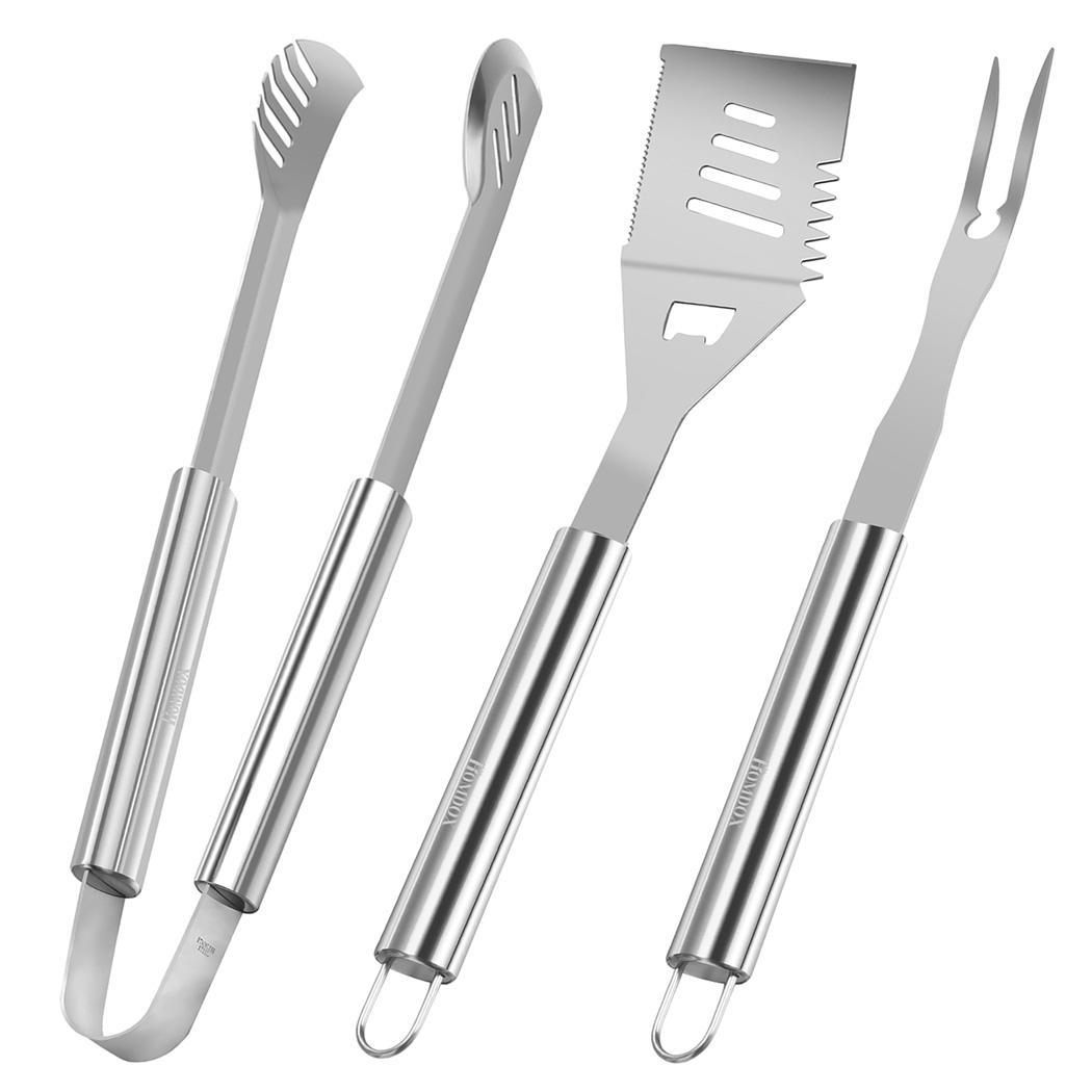3pcs BBQ Grill Tools Set Stainless Steel Spatula Tongs and Fork Baking Barbecue Utensils Kit by
