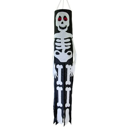In the Breeze Lil' Bones Skeleton 40-Inch Windsock - Hanging Halloween Decoration - Outdoor Holiday - Halloween Windsock