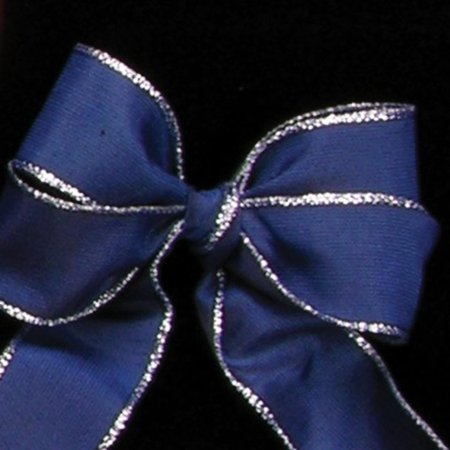 Navy Blue and Silver Taffeta Wired Craft Ribbon 1.5