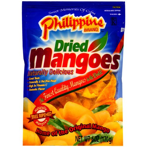 Philippine Brand: Dried Naturally Tree Ripened Mangoes, 6 Oz