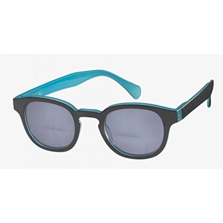 ICU Eyewear Gearhart Sunglasses Black with Turquoise Interior and Grey Lens - Turquoise Sunglasses