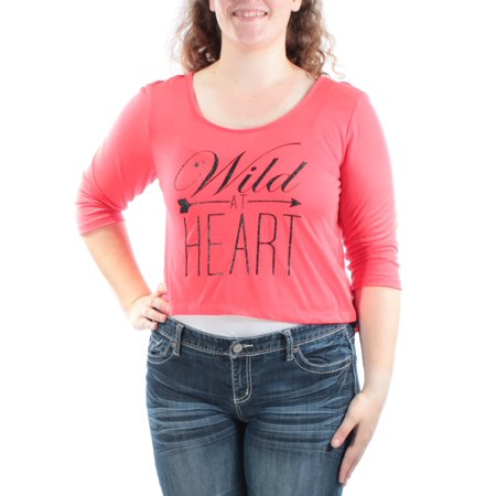 MATERIAL GIRL Womens Red Low Back WILD AT HEART 3/4 Sleeve Scoop Neck Crop Top Juniors  Size: XL