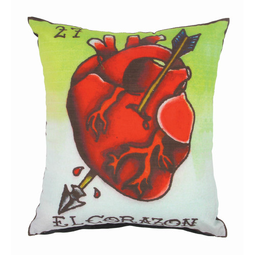 Karma Living Loteria El Corazon Cotton Throw Pillow (Set Of 2) (Set Of