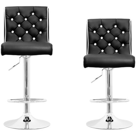 Best Master Furniture Tufted Vinyl with Like-Crystals Adjustable Height Swivel Bar Stool, Set of 2, Black or