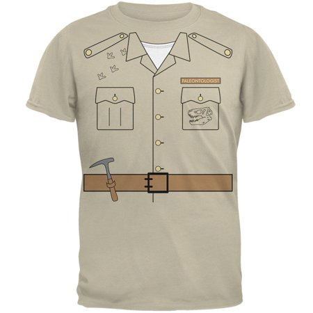 Old Guy Halloween Costumes (Halloween Paleontologist Dinosaur Hunter Costume Mens T Shirt Sand)