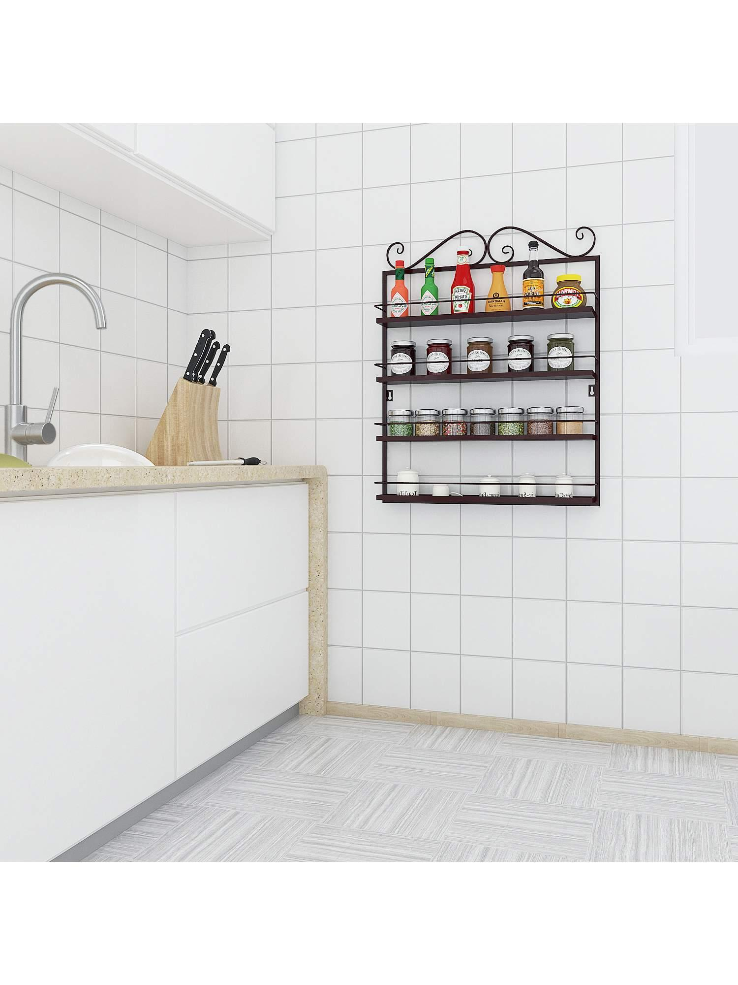 Durable Multifunctional Metal 4 Tier Kitchen Wall Mountable Condiments  Storage Shelves/Wire Frame Wall Mountable