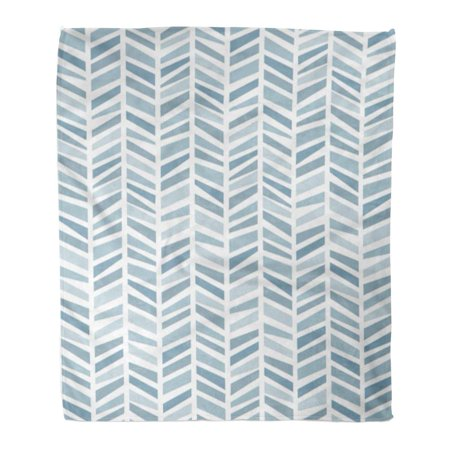SIDONKU Throw Blanket Warm Cozy Print Flannel Colorful Chevron in The Geometric Pattern of Blue Colors Packaging Funky Comfortable Soft for Bed Sofa and Couch 50x60 Inches ()