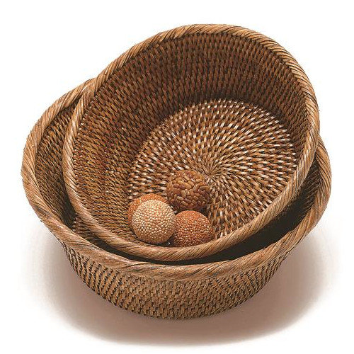 artifacts trading Rattan 2 Piece Round Taper Basket Set