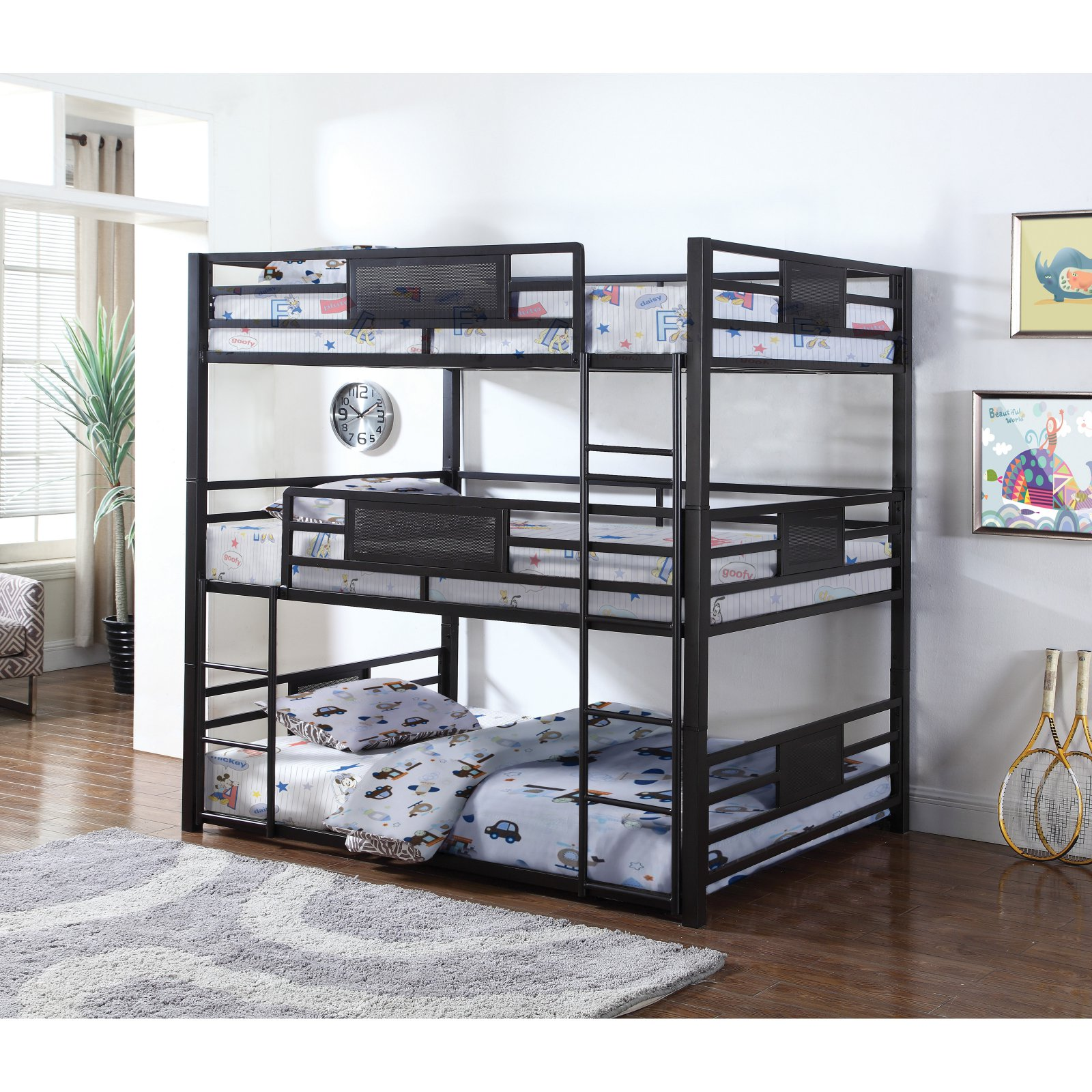 Coaster Rogen triple bunk bed in full.  Finished in dark bronze, contructed with steel.