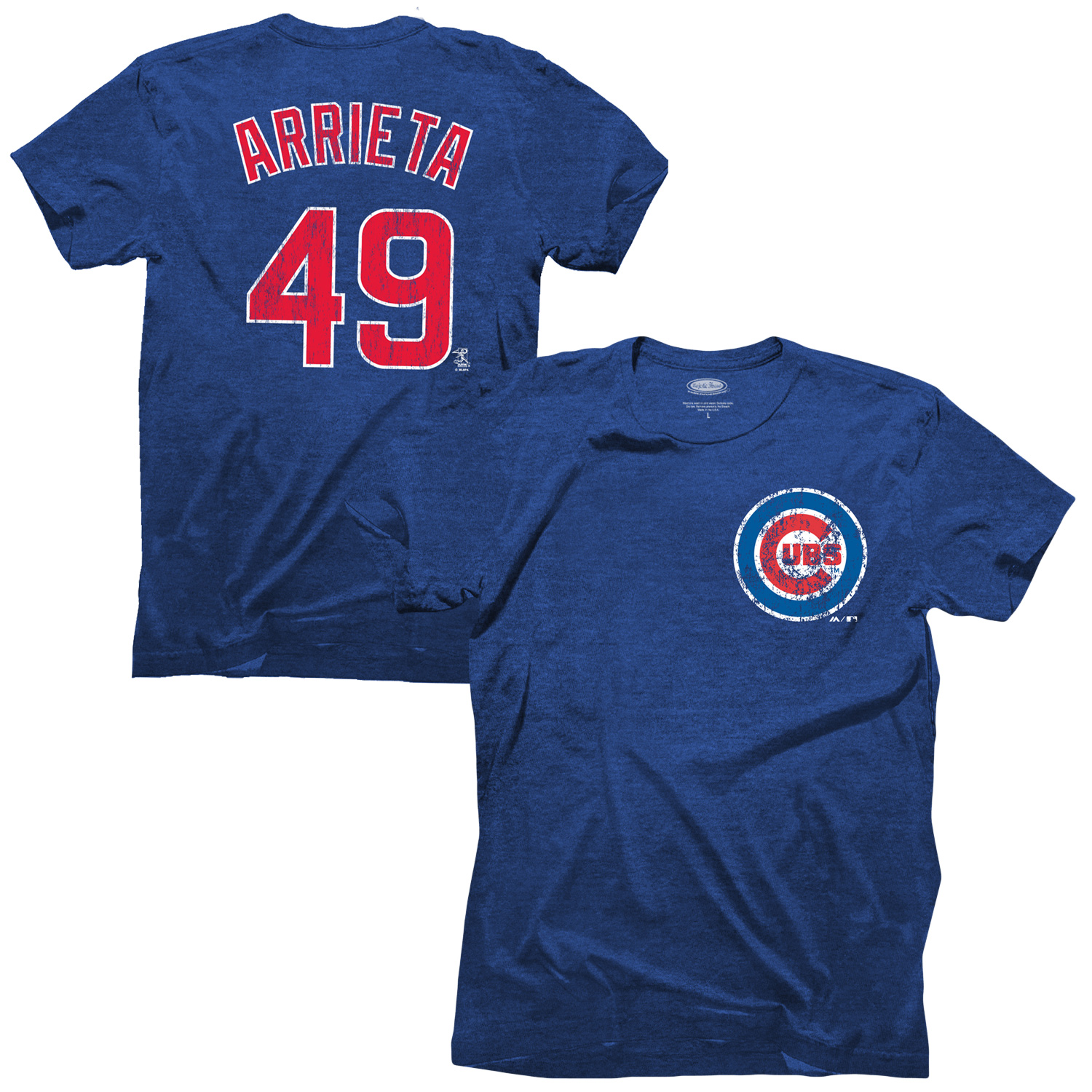 Jake Arrieta Chicago Cubs Majestic Threads Premium Tri-Blend Name & Number T-Shirt - Royal