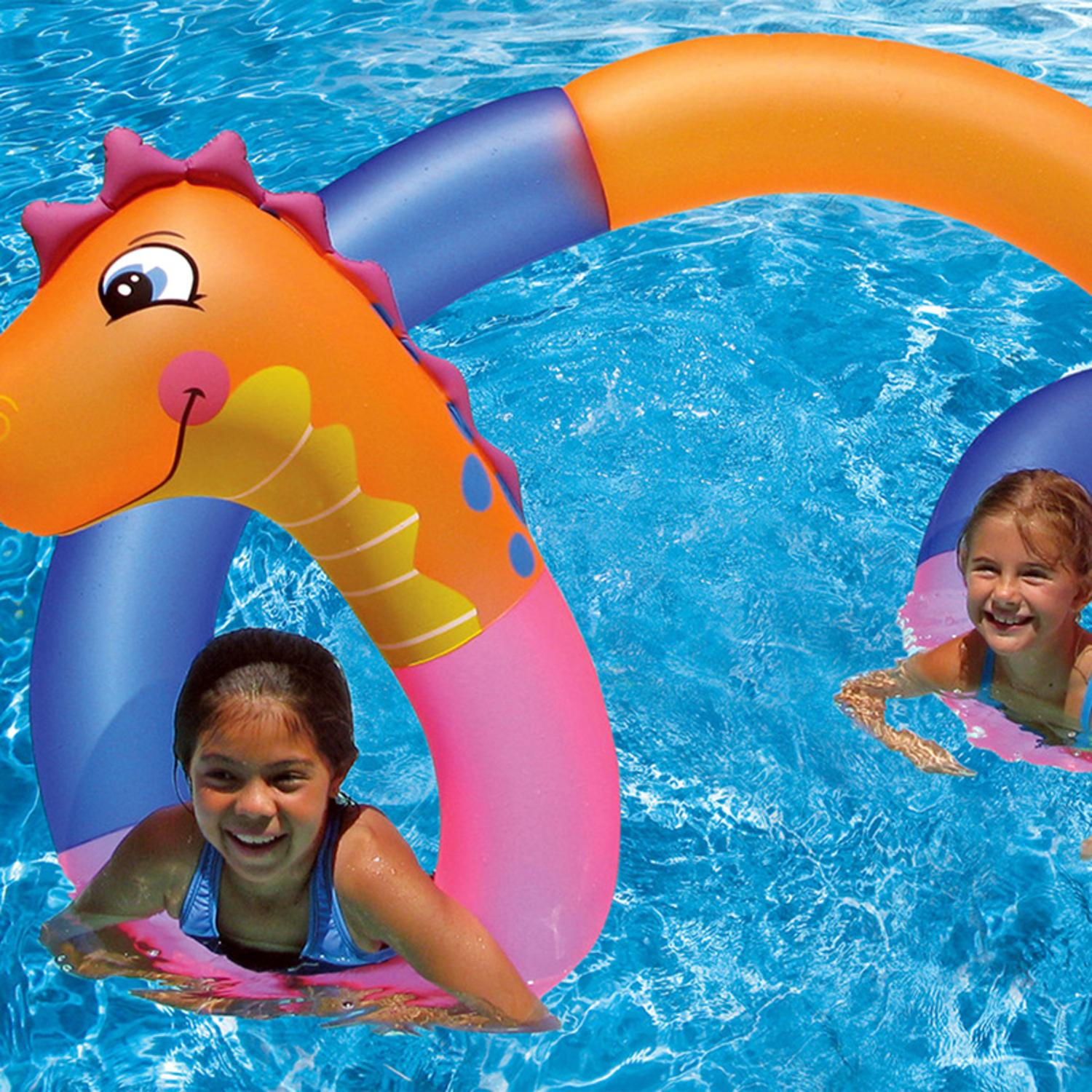 15 2 Quot Orange Pink And Blue Inflatable Aqua Fun Seahorse