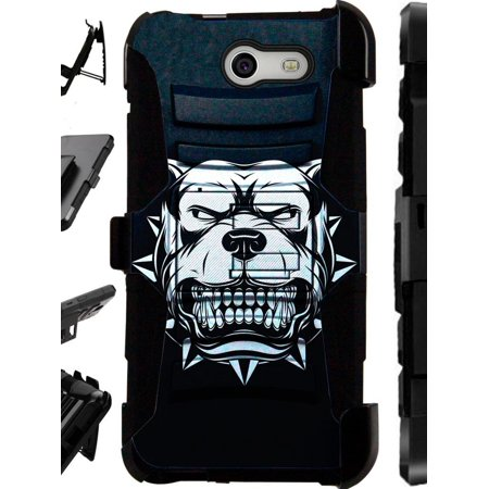 For Samsung Galaxy J3 Mission / J3 Eclipse / J3 Luna Pro / J3 Prime / Sol 2 Case Heavy Duty Hybrid Armor Dual Layer Cover Kick Stand Rugged LuxGuard Holster (Mad Dog Black)