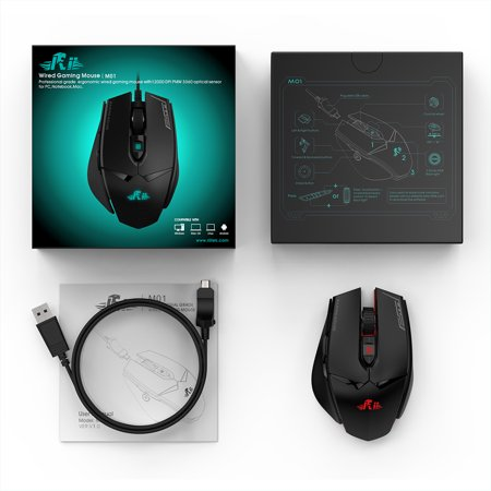 Rii Wired Gaming Mouse 12000DPI 7 Breathing Lights Adjustable DPI 7 Programmable Buttons Ergonomic Mice Support Win10/8/7 for Game and Office Use - image 4 of 7