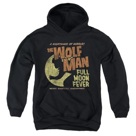Trevco Sportswear UNI1257-YFTH-4 Universal Monsters & Full Moon Fever-Youth Pull-Over Hoodie, Black - Extra