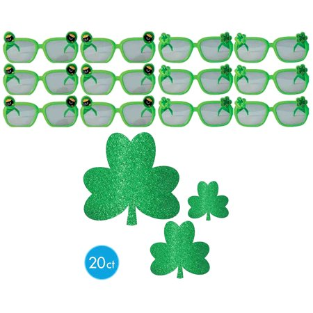 Accessory Value Pack (Holiday Party Accessories and Holiday Party Supplies Amscan St Patricks Day Mega Value Pack Green Plastic Sunglasses (12pc Set) and Amscan St Patricks Day Glitter Shamrock Mega Value Pack Cutouts (20p)