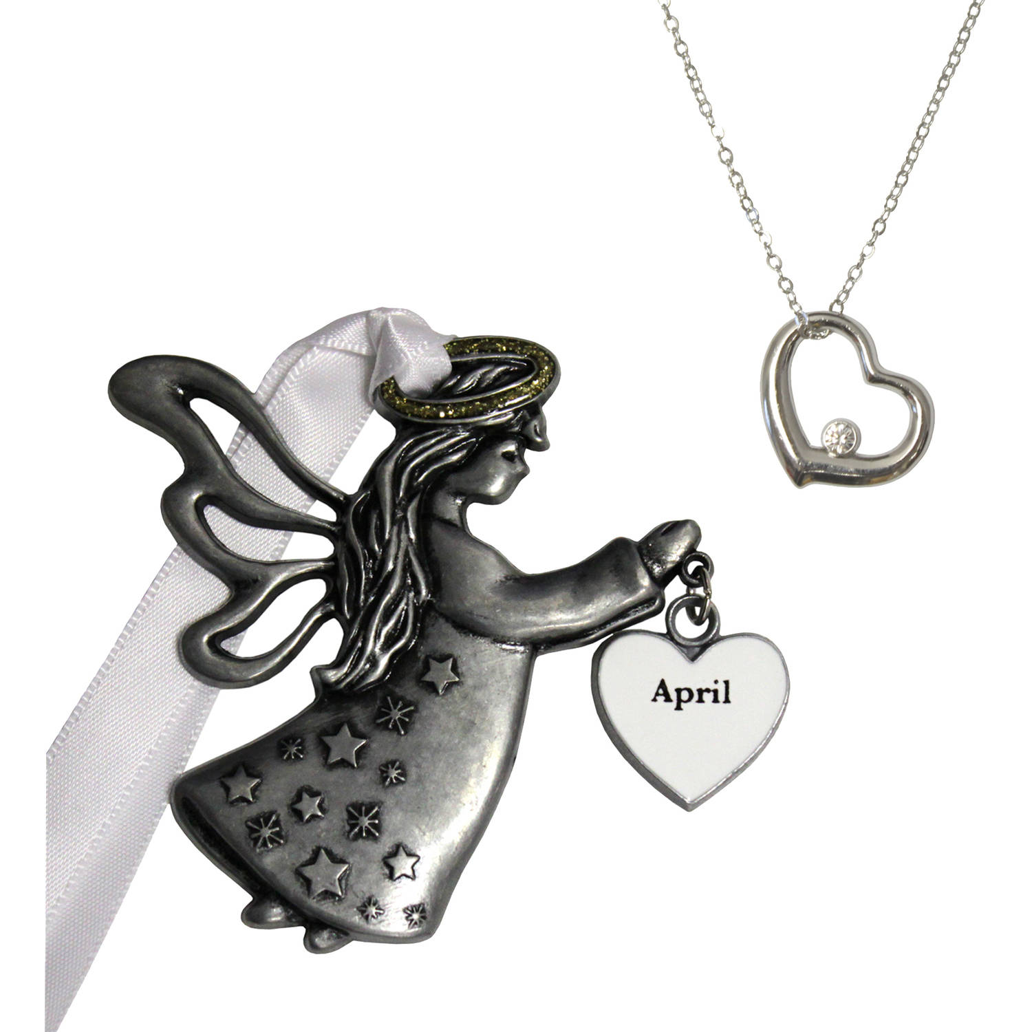 """Personalized Gloria Duchin April Birthstone Angel Christmas Ornament and Pendant Necklace Set, 18"""""""