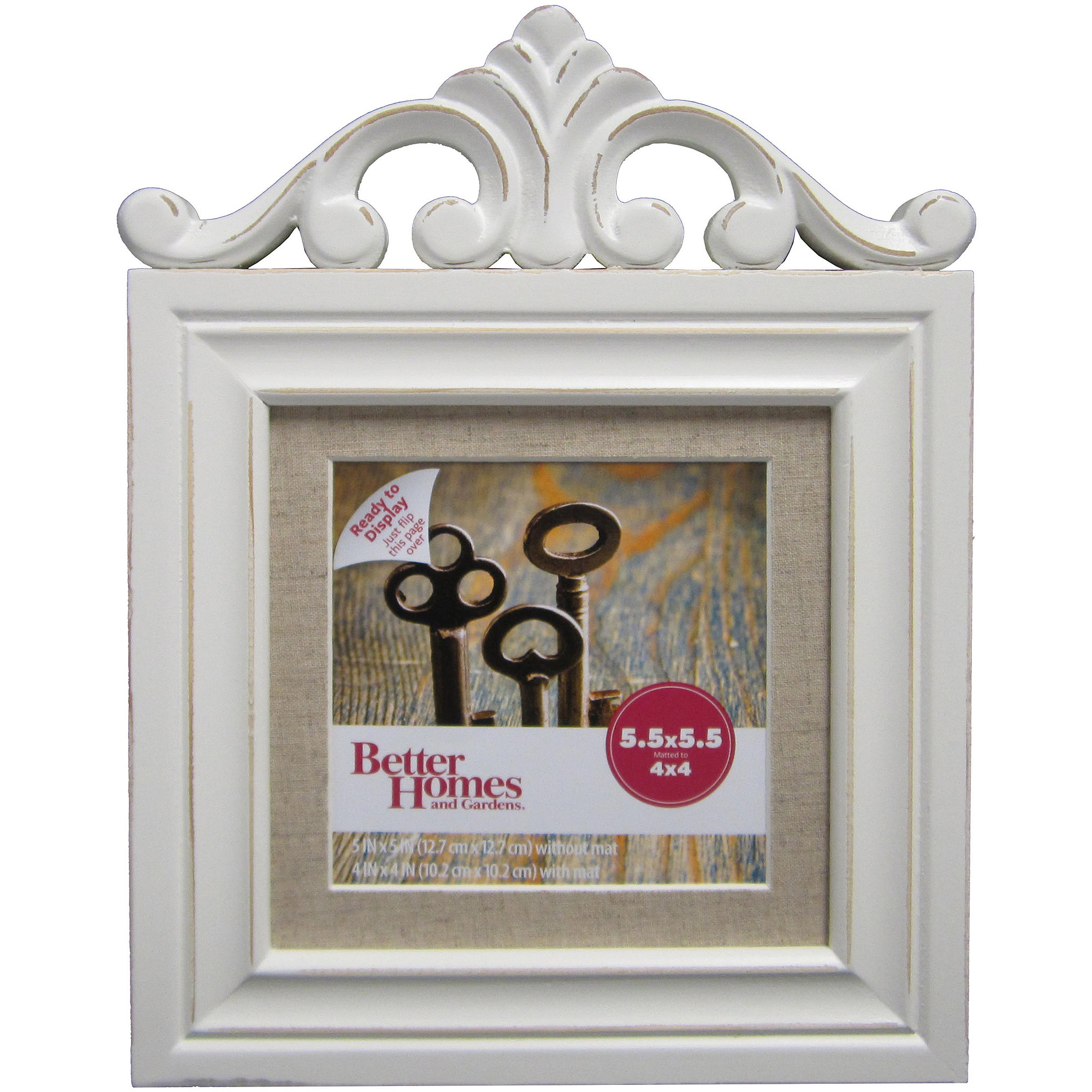 better homes and gardens 5x5 frame with cornice embellishment distressed white walmartcom