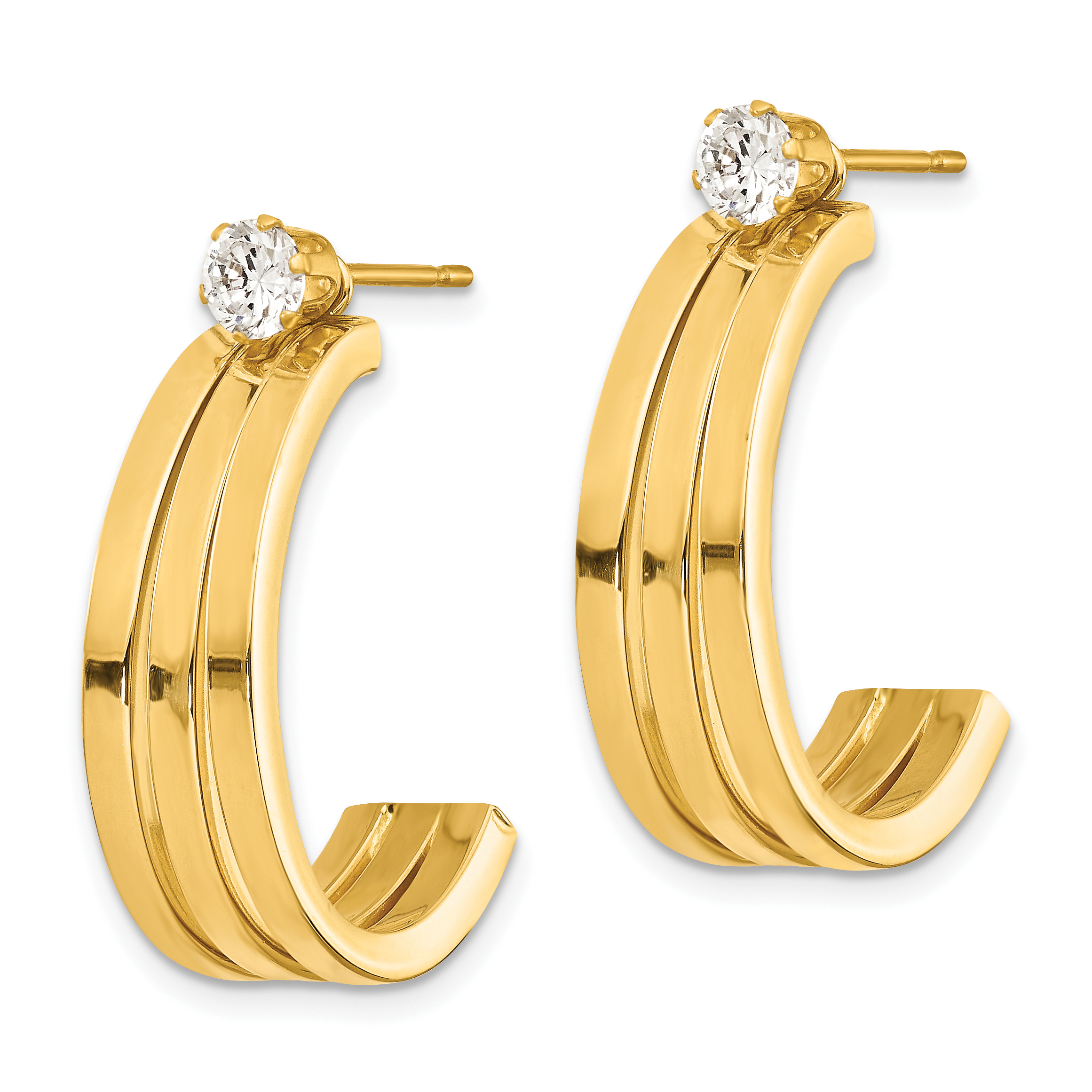 14k White Gold Polished J Hoop with 4mm CZ Stud Earring Jackets