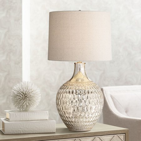 360 Lighting Modern Table Lamp Textured Mercury Glass Off