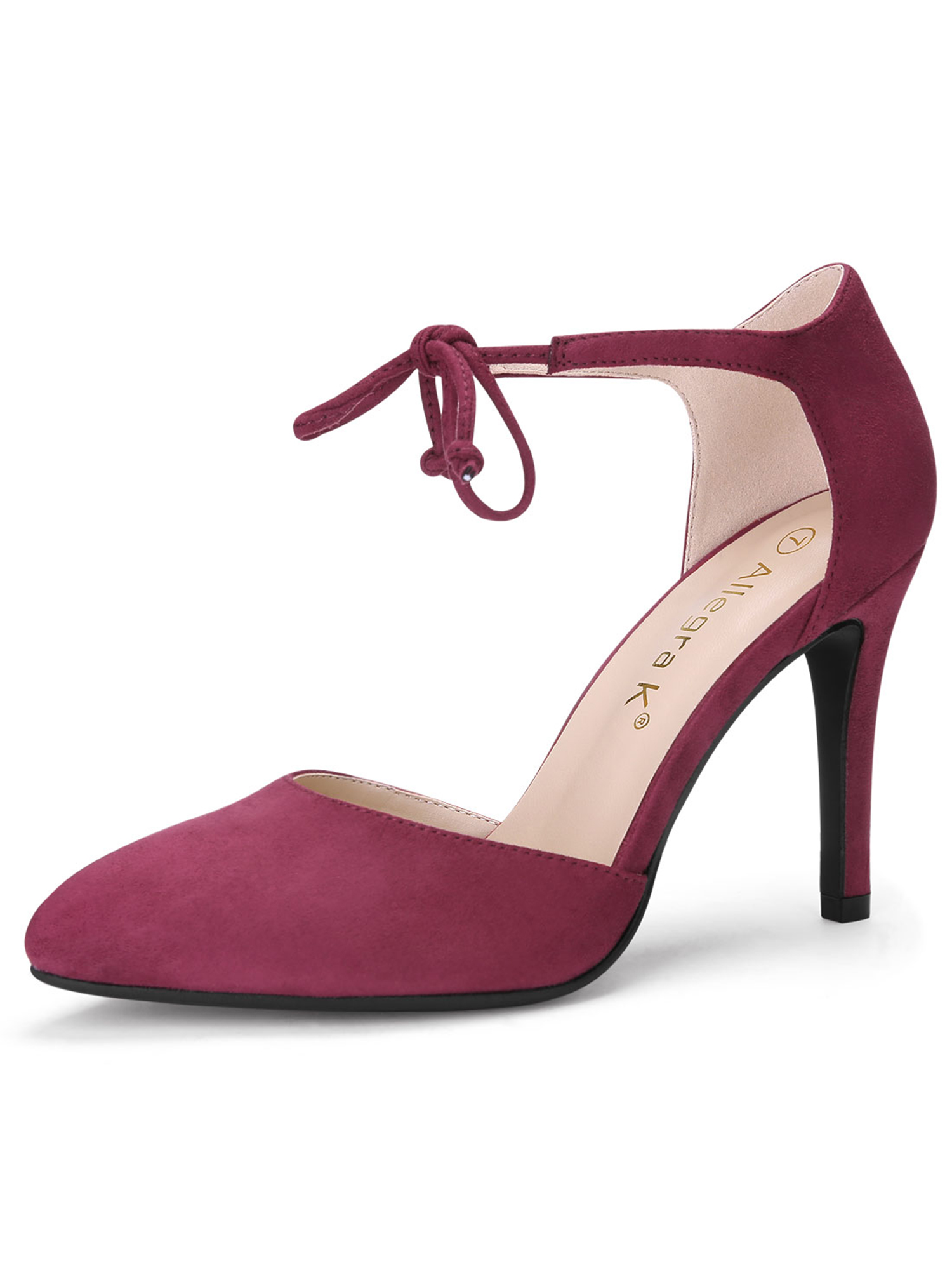 e227fcf915b4 Unique Bargains Women s Ankle Tie Stiletto Pointed Toe Pumps Burgundy (Size  9.5)