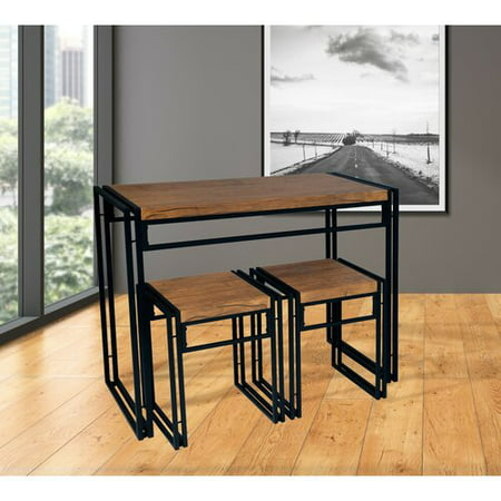 Atlantic Small Space 3-Pc Dining Set, Wood & Black Metal (Garden Back Dining Collection)