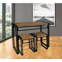 Atlantic Small Space 3-Pc Dining Set, Wood & Black Metal