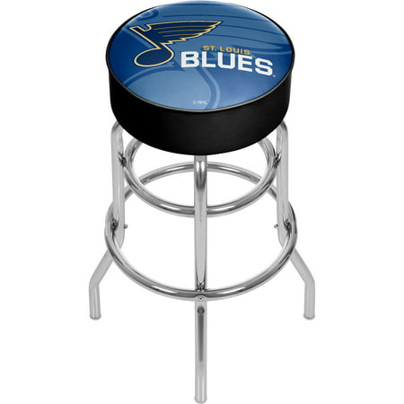 NHL Chrome Bar Stool with Swivel - Watermark - St. Louis Blues Louis Blues Glass