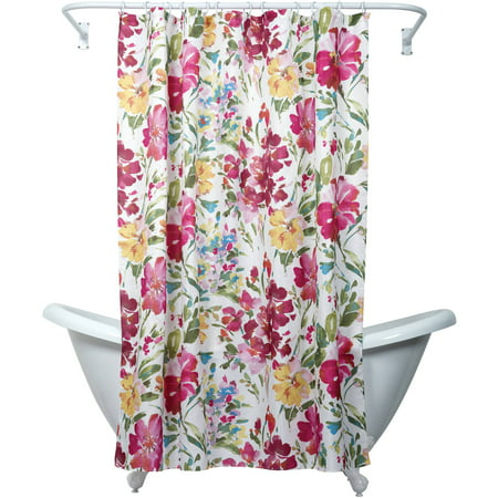 Zenna Home India Ink Watercolor Floral Shower Curtain, Multi-color