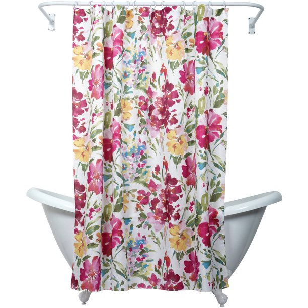Zenna Home India Ink Watercolor Floral Shower Curtain Multi Color Walmart Com Walmart Com