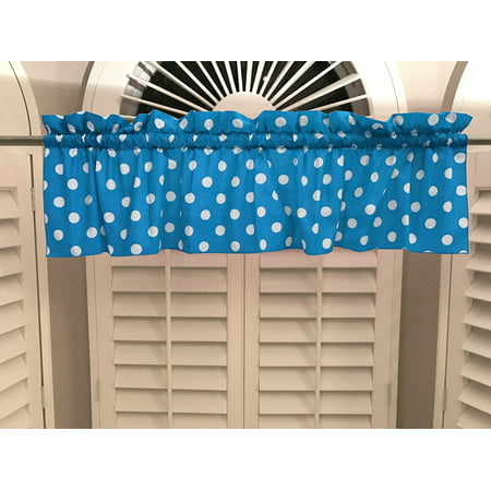 Turquoise Dot - cotton polka dots window valance 58 wide white on turquoise