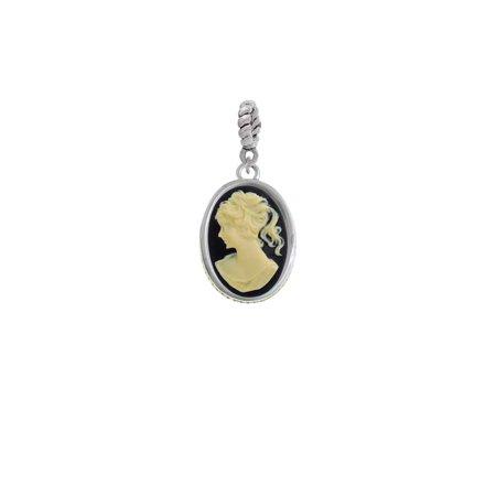 Black Oval Charm (Silvertone Small Black Oval Cameo - Rope Charm Bead)