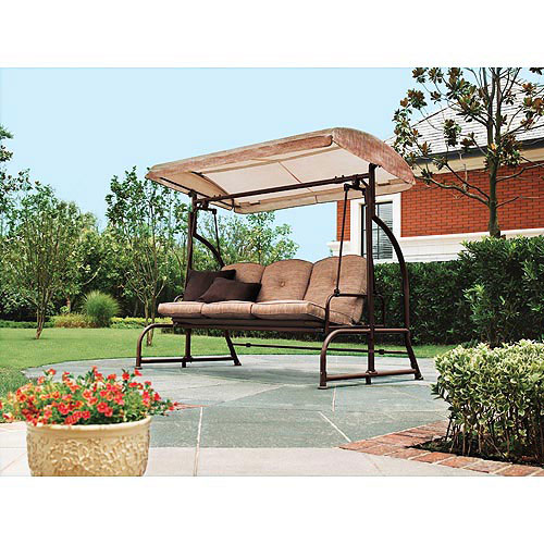 Garden Winds Replacement Canopy Top for Walmart's Sand Dune 3-Seater Swing, DARK BROWN, Riplock 350