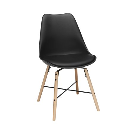 "OFM 161 Collection Mid Century Modern 18"" Plastic Molded Dining Chairs with Vinyl Seat Cushion, Beechwood Legs with Wire Accent, 4 Pack, in Black (161-PV18A-BLK‌-4)"