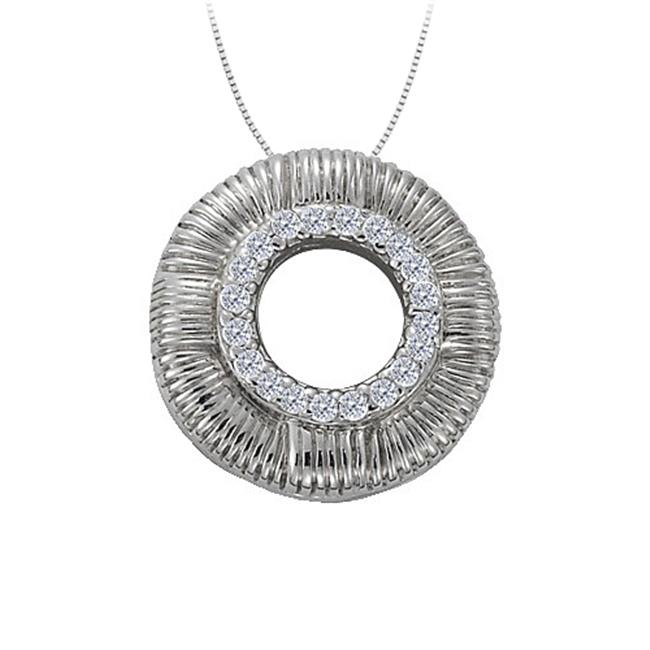 Fine Jewelry Vault UBNPD31928W14D Diamond Circle Fashion Pendant in 14K White Gold 0.10 CT TDWJewelry Gift for Women