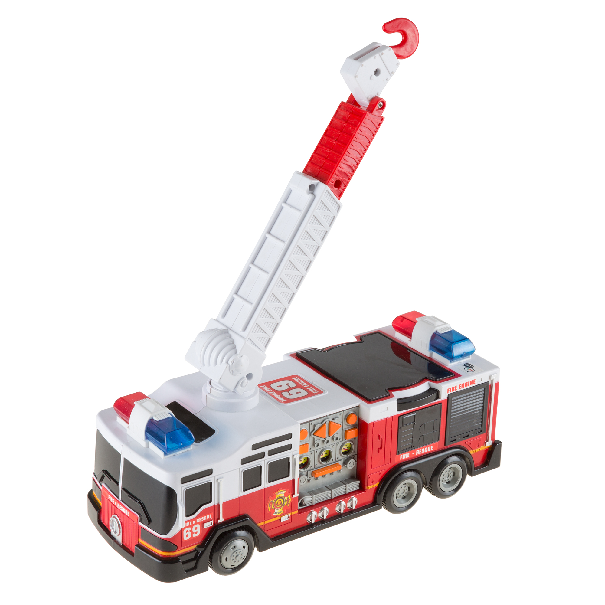 Toy Fire Truck with Extending Ladder, Battery-Powered Lights, Siren Sounds and Bump-n-Go Movement for Toddlers Boys and Girls by Hey! Play!