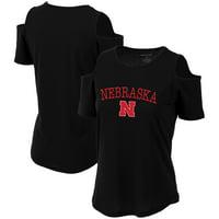 Nebraska Cornhuskers Women's Sueded Jersey Cold Shoulder T-Shirt - Black
