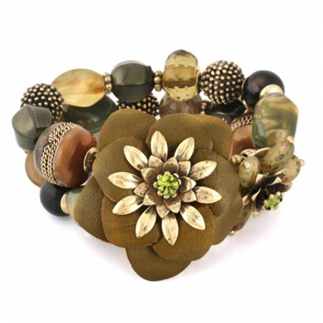 Eshopo 0900000030154 Gold-Tone Metal Mix Beads Flower Stretch Bracelets