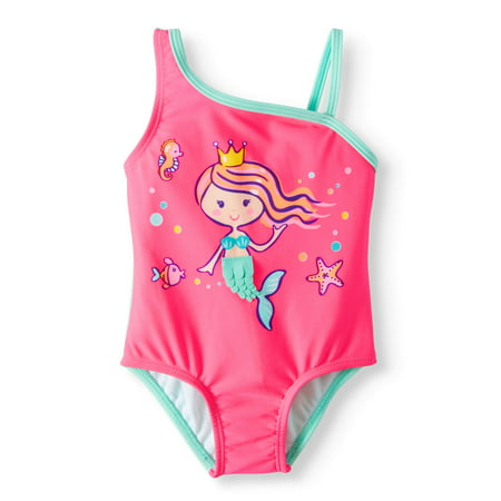 Wonder Nation Mermaid Asymetrical Strap One Piece Swimsuit (Baby Girls)