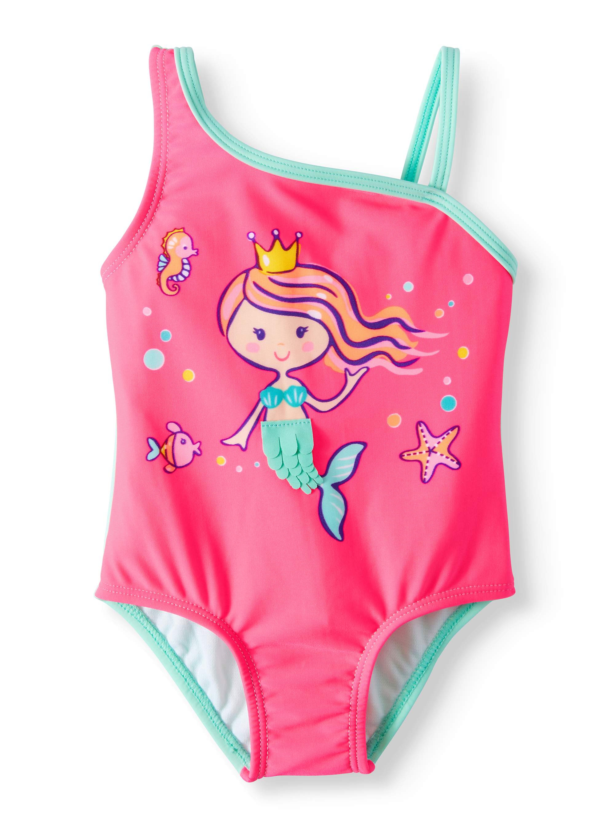 Mermaid Asymetrical Strap One Piece Swimsuit (Baby Girls)