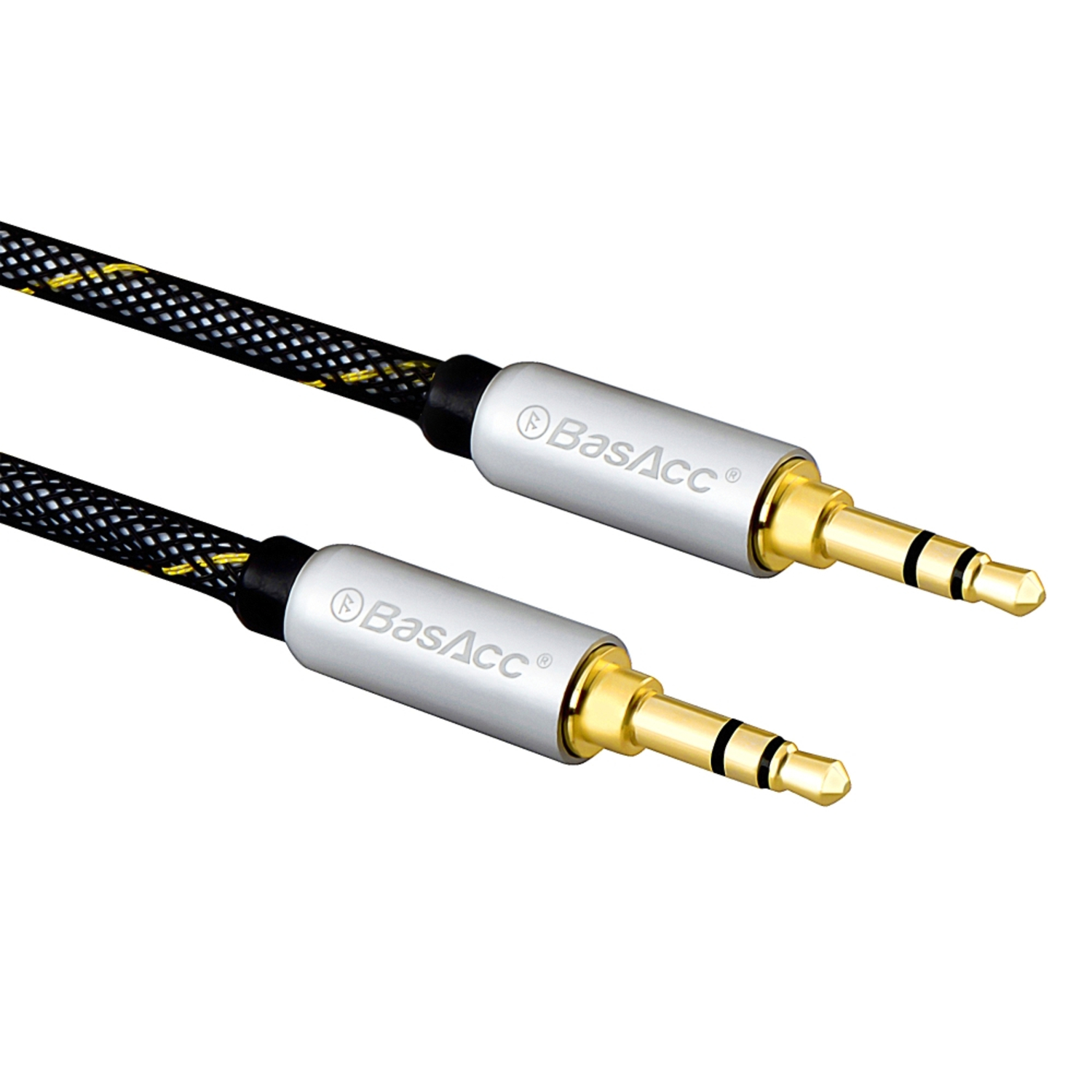 BasAcc 4' Premium Stereo 3.5mm Braided Audio Cable Male to Male Gold Plated M/M Silver (for Speaker Soundbar Smartphone Cell Phone Mobile Tablet iPhone iPod iPad MP3 Aux Auxiliary Input) Jack to Jack