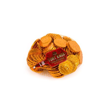 Fort Knox Milk Chocolate 1.5-inch Coins - Orange Foil, 1 lb - Coin Chocolate