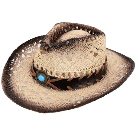 Child's Costume Party Cowboy Cowgirl Straw Hat with Blue Stone Brown (Brown Hat)