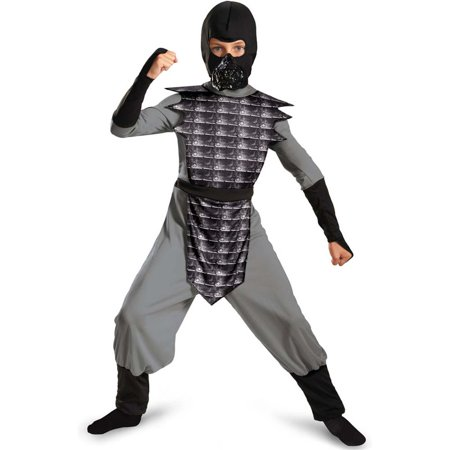 Childrens Boys Grey Gray Evil Ninja Mortal Kombat Smoke Costume - Mortal Kombat Costumes