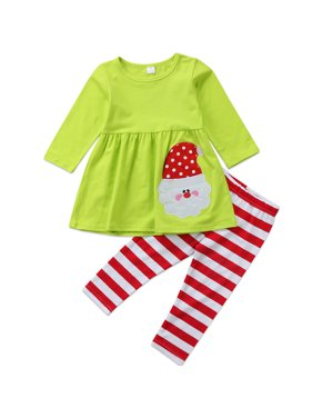 e946ec2b5fd Product Image Baby Kid Girls Christmas Outfits Long Sleeve Santa Claus  Dress With Stripes Pant 6-7